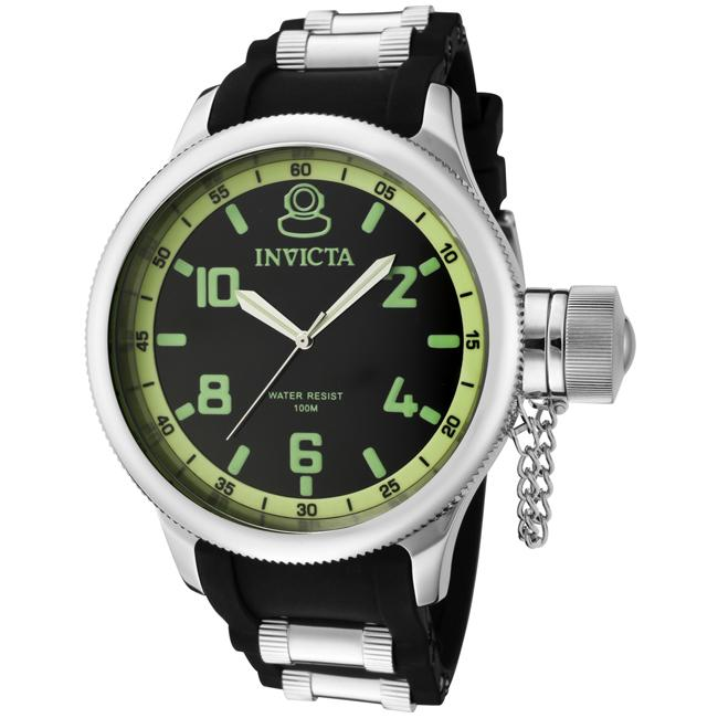 Invicta Men's 'Russian Diver' Black Dial Black Polyurethane Watch - Thumbnail 0