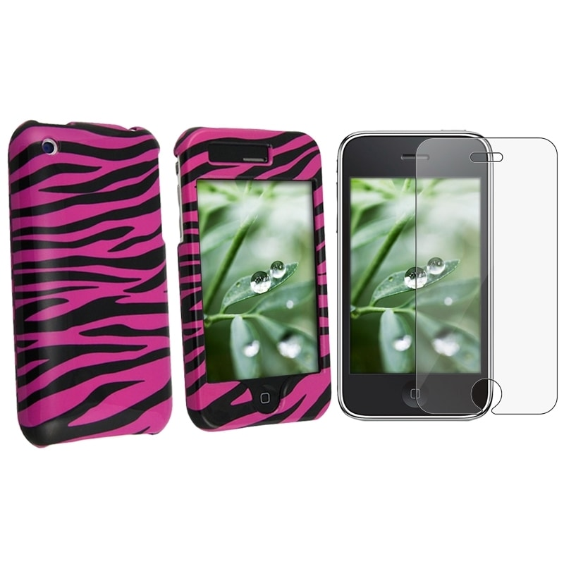 Pink Zebra Case/ Screen Protector for Apple iPhone 3GS