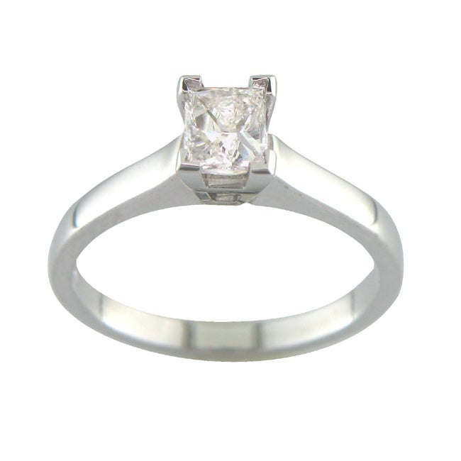 14k White Gold 3/5ct TDW Certified Clarity-enhanced Diamond Ring (E, SI1)