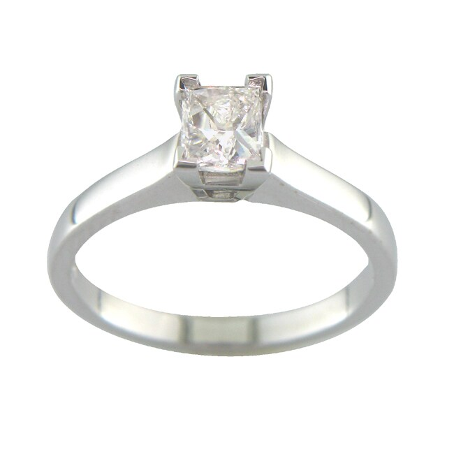 14k White Gold 3/5ct TDW Certified Clarity-enhanced Diamond Ring (E, SI1) - Thumbnail 0