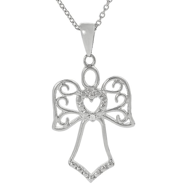 Journee Sterling Silver Cubic Zirconia Angel Necklace