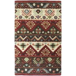 Hand-tufted Red Southwestern Aztec Henderson New Zealand Wool Rug (9'x13')