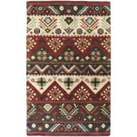 Hand-tufted Red Southwestern Aztec Henderson New Zealand Wool Area Rug (9' x 13')