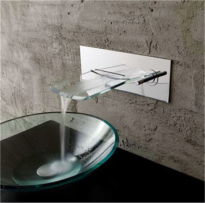 Kokols Bath Glass Wall-mounted Waterfall Chrome Faucet