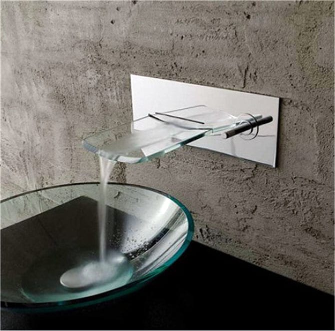 Kokols Bath Glass Wall-mounted Waterfall Chrome Faucet - Thumbnail 0