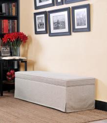 Portfolio Blane Khaki Sand Skirted Wall Hugger Bench Storage Ottoman