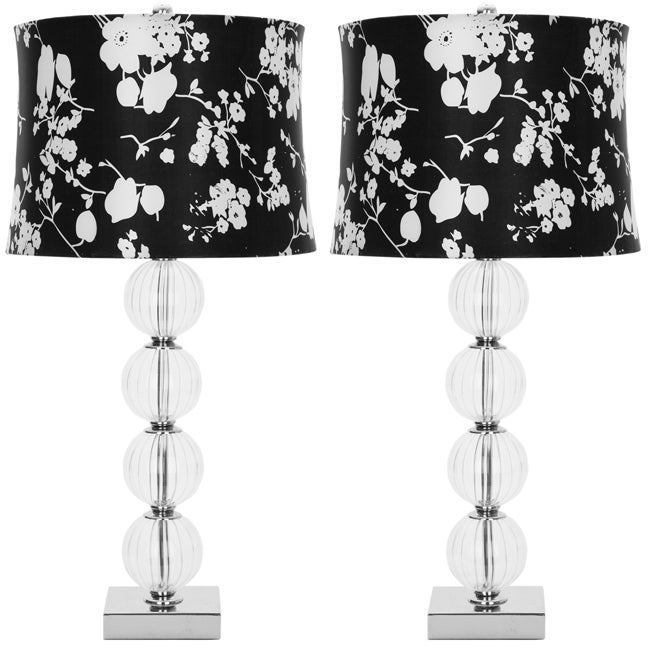 Safavieh Lighting 30-inch Glass Sphere Black/ White Shade Table Lamps (Set of 2)