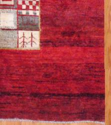 Persian Hand-Knotted Gabbeh Red and Ivory Wool Rug (6'3 x 9'9)
