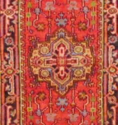 Indo Hand-knotted Rust/Navy Wool Rug (2'6 x 12') - Thumbnail 1