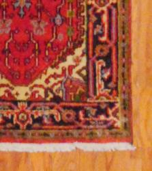 Indo Hand-knotted Rust/Navy Wool Rug (2'6 x 12') - Thumbnail 2