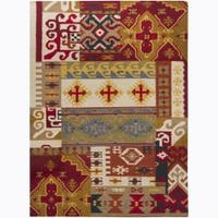 Artist's Loom Handmade Flatweave Country Abstract Wool Rug (7'x10')