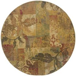 Ellington Green/Red Transitional Area Rug (7'8 Round)