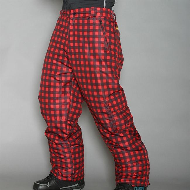 Pipeline Men's Park Check Red Snowboard Pants