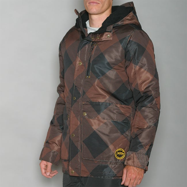 Pipeline Men's Check Line Brown Snowboard Jacket