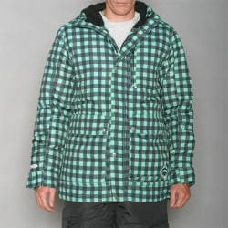 Pipeline Men's Park Check Green Snowboard Jacket - Thumbnail 1