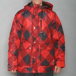 Pipeline Men's Check Line Red Snowboard Jacket - Thumbnail 1