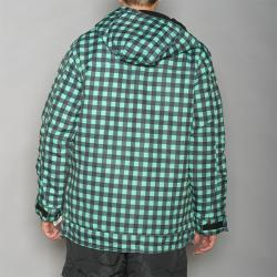 Pipeline Men's Park Check Green Snowboard Jacket - Thumbnail 2