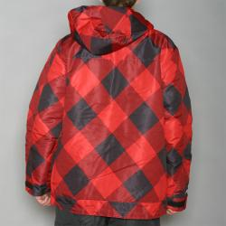 Pipeline Men's Check Line Red Snowboard Jacket - Thumbnail 2