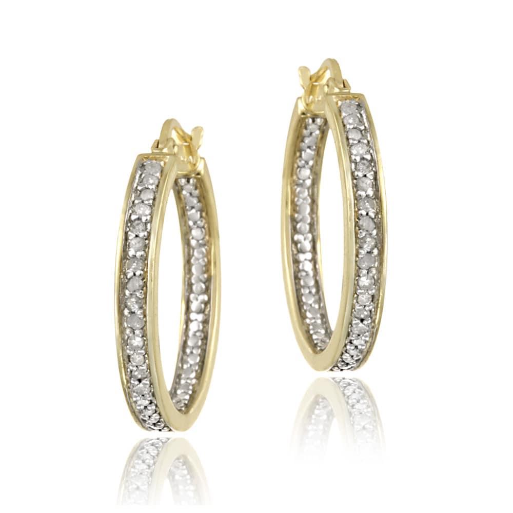 DB Designs 18k Gold over Silver 1/5ct TDW Diamond Round Hoop Earrings (I-J, I2-I3)