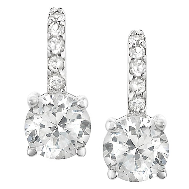Journee Collection Sterling Silver Round-cut Cubic Zirconia Earrings