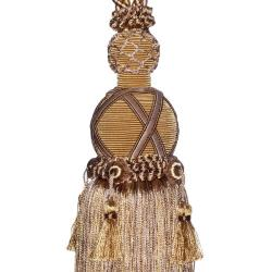 Exclusive Fabrics Taupe/ Gold Designer Tassel Tiebacks (Set of 2)