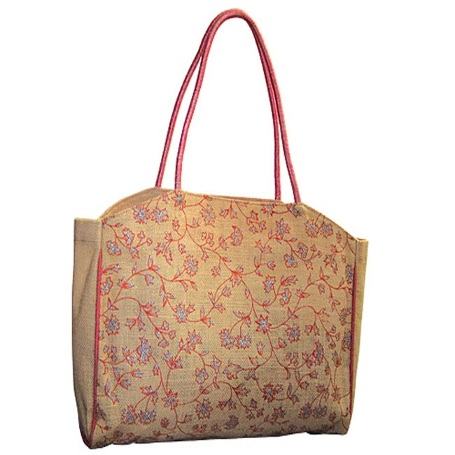 Ardour Floral Print Jute Tote Bag