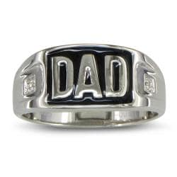 Sterling Silver Men's Diamond Accent 'Dad' Ring