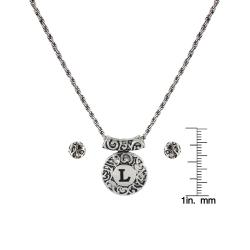 Roman Silvertone Initial 'L' Antiqued Dome Disc Necklace and Earring Set