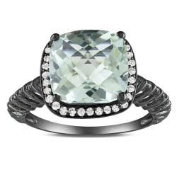 Miadora Sterling Silver Green Amethyst and 1/6ct TDW Diamond Ring (G-H, I2-I3)