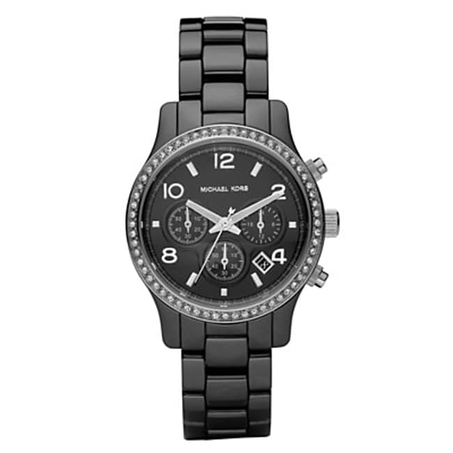 Michael Kors Women's Chronograph Black Ceramic Bracelet Watch