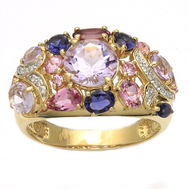Beverly Hills Charm 14k Yellow Gold Multi-gemstone and 1/10ct TDW Diamond Ring