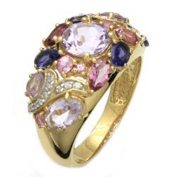 Beverly Hills Charm 14k Yellow Gold Multi-gemstone and 1/10ct TDW Diamond Ring - Thumbnail 1