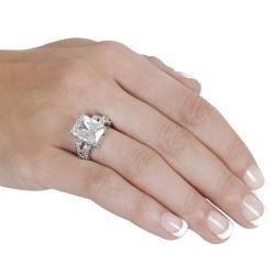 Journee Collection Silvertone Emerald-cut Cubic Zirconia Ring