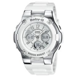 Casio Women's 'Baby-G' White and Silver Dial Rhinestone Watch