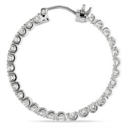 Miadora 14k White Gold 2 4/5ct TDW Diamond Hoop Earrings