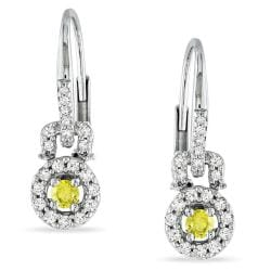 Miadora 14k White Gold 1/3ct TDW Yellow and White Diamond Earrings