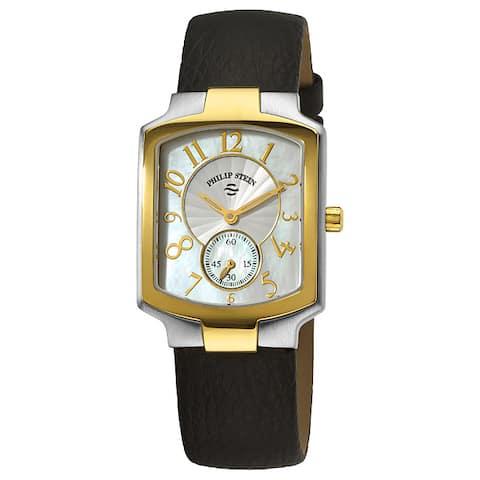 Philip Stein Women's Classic Black Strap Two Tone Watch