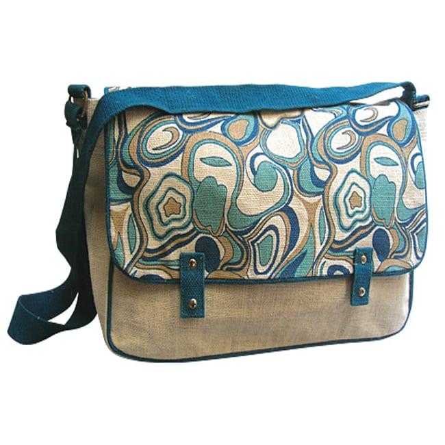 Blue Harmony Abstract Print Shoulder Bag