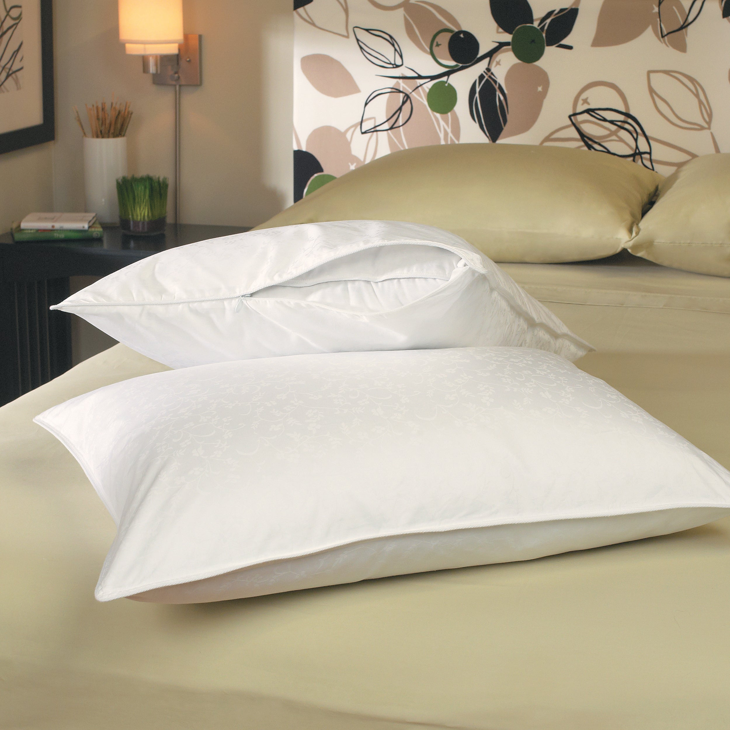 Jacquard 330 Thread Count Zip Standard/Queen/King- Size Pillow Protectors (Set of 2)