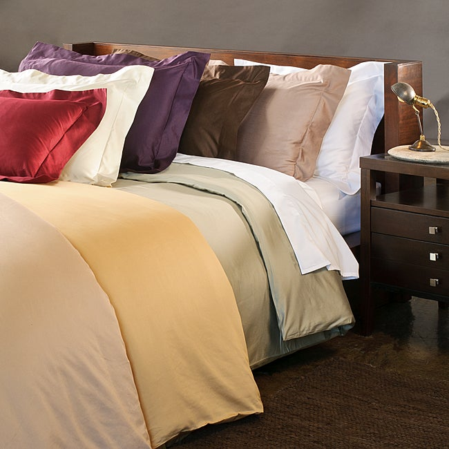 Superior Cotton 600 Thread Count Solid King/ California King-size Duvet Cover Set