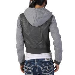 Miss Posh by Journee Juniors PU Leather Knit-sleeve Varsity Jacket - Thumbnail 1