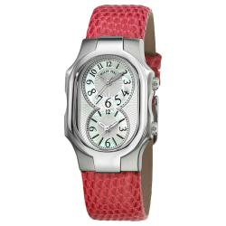 Philip Stein Women's 'Signature' Pink Leather Strap Dual Time Watch