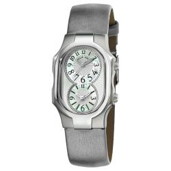 Philip Stein Women's 'Signature' Grey Leather Strap Dual Time Watch