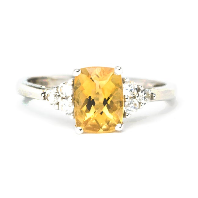 Sterling Silver Created Citrine and Cubic Zirconia Ring