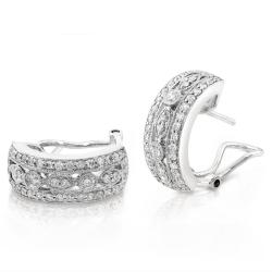 Annello by Kobelli 14k White Gold 7/8ct TDW Diamond Earrings (G-H, SI1-SI2) - Thumbnail 1