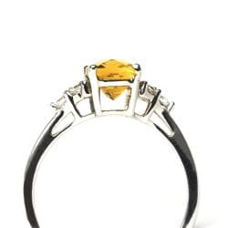Sterling Silver Created Citrine and Cubic Zirconia Ring - Thumbnail 1