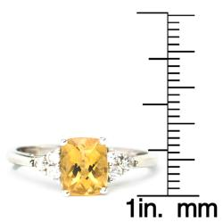 Sterling Silver Created Citrine and Cubic Zirconia Ring - Thumbnail 2