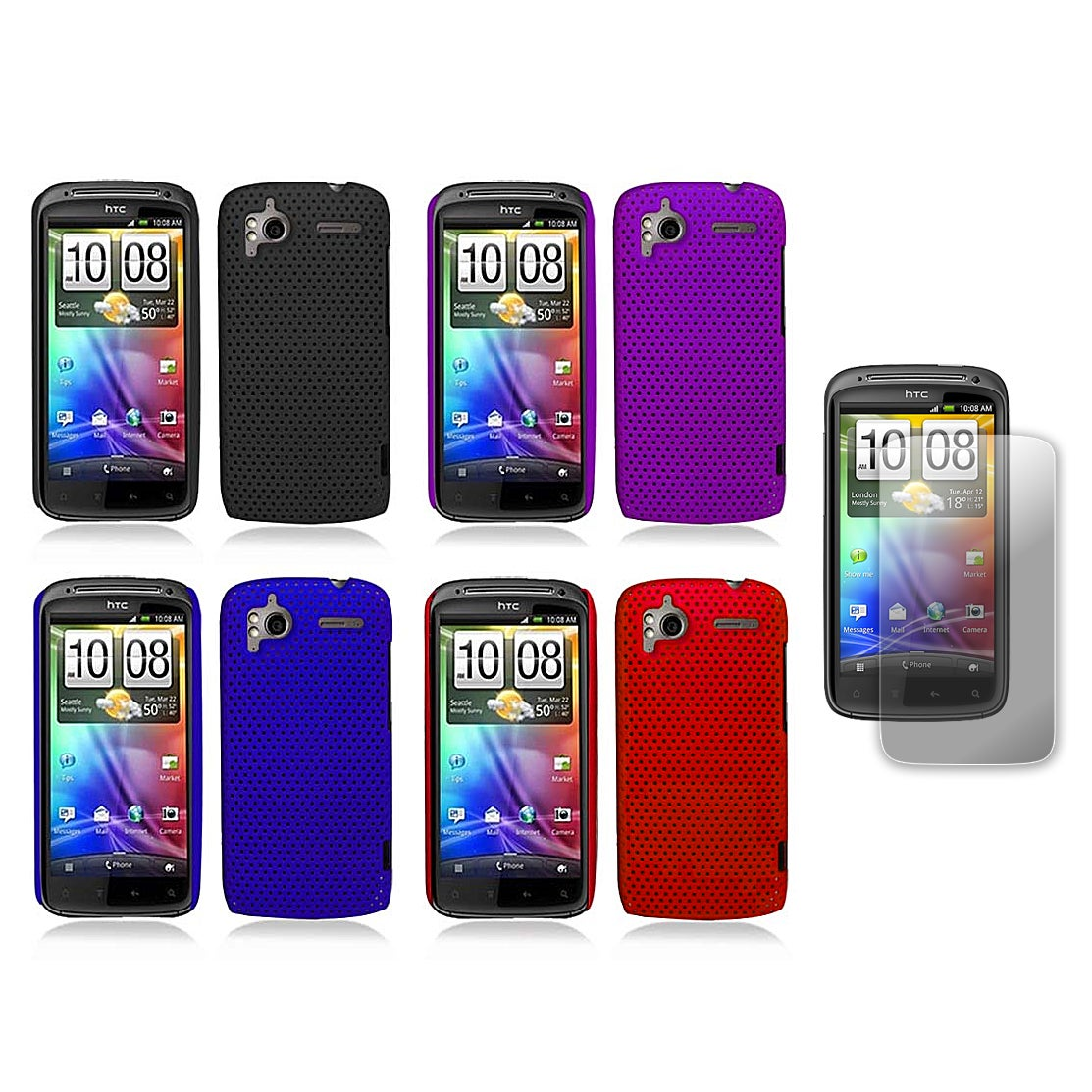 HTC Sensation 4G Rubberized Perforated Mesh Hard Case and Screen Guard