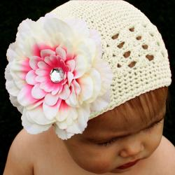 Pink and Cream Kufi 5-piece Hat Set - Thumbnail 1