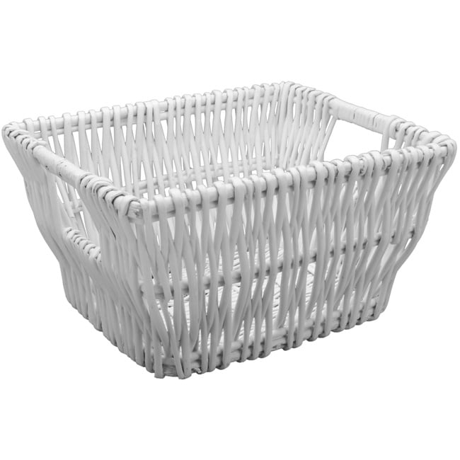 White Medium Wicker Basket